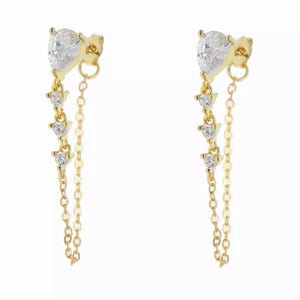 18k Yellow Gold Plated Annie Chain Studs - White Diamond