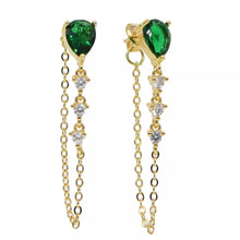 Load image into Gallery viewer, 18k Yellow Gold Plated Annie Chain Studs - Emerald Green