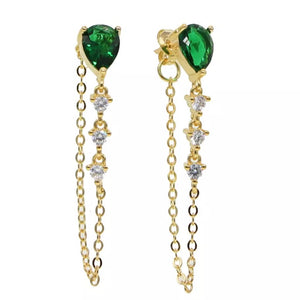 18k Yellow Gold Plated Annie Chain Studs - Emerald Green