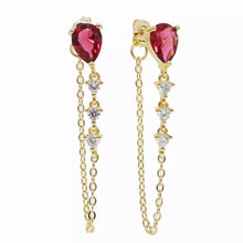 Load image into Gallery viewer, 18k Yellow Gold Plated Annie Chain Studs - Ruby Red