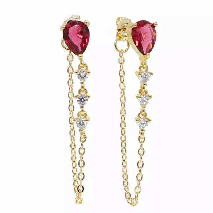 18k Yellow Gold Plated Annie Chain Studs - Ruby
