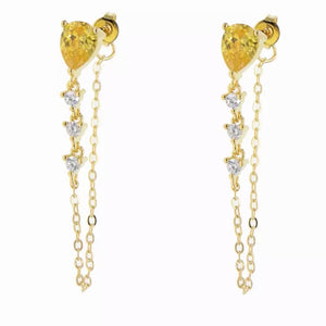 18k Yellow Gold Plated Annie Chain Studs - Canary Yellow