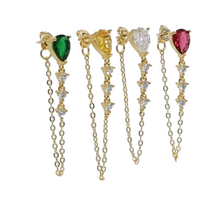 Load image into Gallery viewer, 18k Yellow Gold Plated Annie Chain Studs