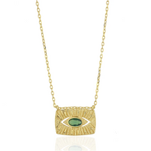 Load image into Gallery viewer, 18k-Yellow-Gold-Vermeil-Apollo-Emerald-Green-Evil-Eye-Charm-Necklace