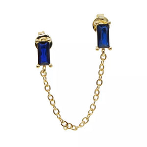 18k-Yellow-Gold-Plated-Baguette-Double-Piercing-Chain-Studs-Blue-Cubic-Zirconia