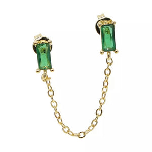 18k-Yellow-Gold-Plated-Baguette-Double-Piercing-Chain-Studs-Emerald-Green-Cubic-Zirconia