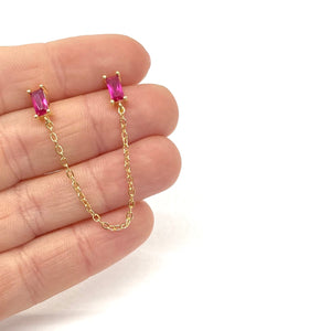 18k-Yellow-Gold-Plated-Baguette-Double-Piercing-Chain-Studs-Ruby