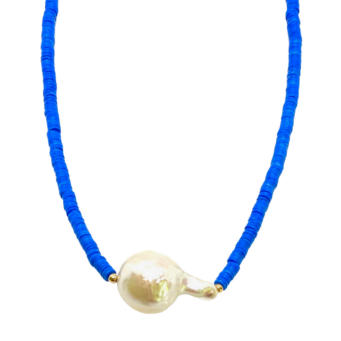 Baroque Freshwater Pearl & Cobalt Blue Disk Bead Necklace
