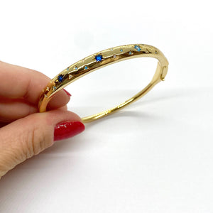 18k-Yellow-Gold-Plated-Blue-Stone-Starburst-Bangle
