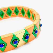Load image into Gallery viewer, Suki Enamel Tile Stretch Bracelet - Blush & Kelly Green