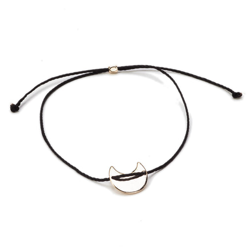 14k Gold Plated Vermeil Black Selma String Bracelet