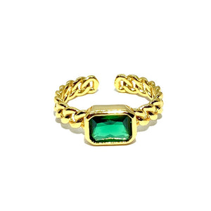 18k-Yellow-Gold-Vermeil-Chain-Link-Baguette-Stone-Ring-Emerald-Green-Cubic-Zirconia