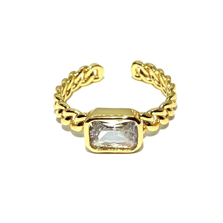 18k-Yellow-Gold-Vermeil-Chain-Link-Baguette-Stone-Ring-White-Cubic-Zirconia