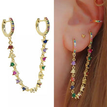 Load image into Gallery viewer, 18k-Yellow-Gold-Plated-Charlie-Double-Piercing-Huggies-Rainbow