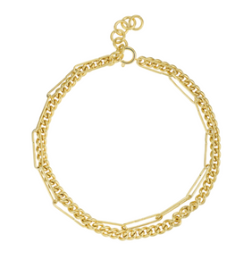 18k Yellow Gold Plated Chunky Double Chainlink Chain Necklace