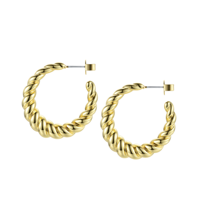 18k Yellow Gold Plated Chunky Gold Rope Hoops