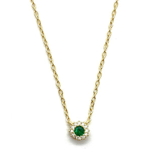 Dainty Emerald Green & Pave Halo Charm Necklace