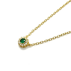 18k-Yellow-Gold-Vermeil-Dainty-Emerald-Green-And-Pave-Halo-Charm-Necklace