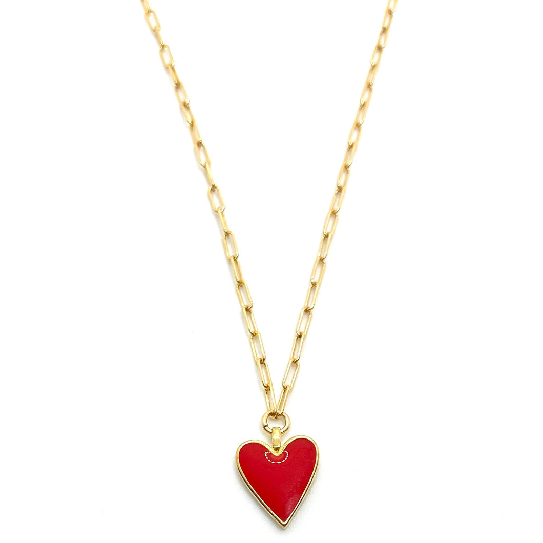 18k-Yellow-Gold-Vermeil-Dainty-Red-Enamel-Heart-Charm-Necklace