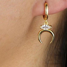 Load image into Gallery viewer, 18k Yellow Gold Vermeil Dangling Double Horn Marquis Huggies