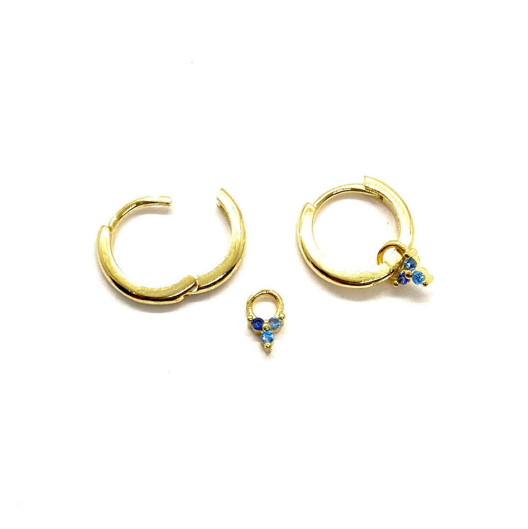 18k Yellow Gold Vermeil Dangling Ombre Blue Sapphire Cluster Charm Huggies