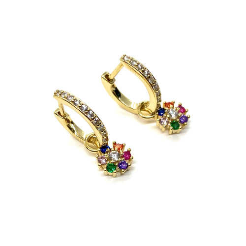 18k Yellow Gold Plated Dangling Rainbow Pave Flower Huggies