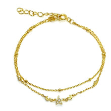 Load image into Gallery viewer, 18k-Yellow-Gold-Vermeil-Delicate-Double-Chain-Star-And-Moon-Charm-Bracelet