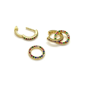 18k Yellow Gold Plated Rainbow Pave Didi Huggie Hoops