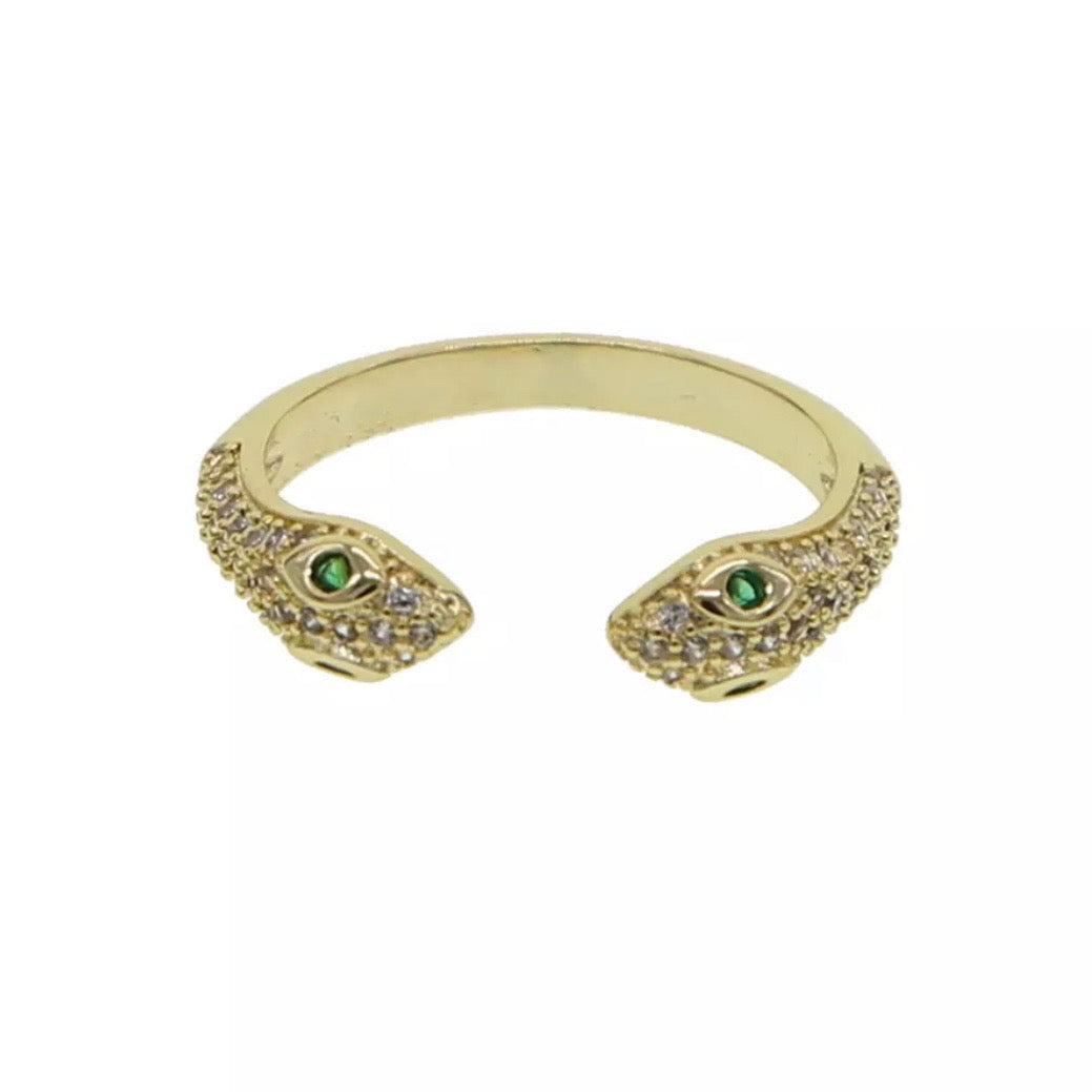 18k Yellow Gold Plated Double-Head Pave Snake Ring