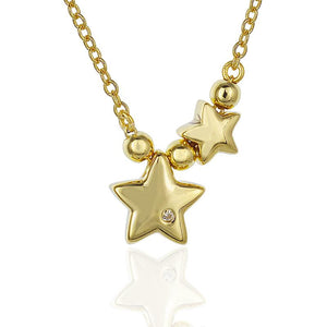 18k Yellow Gold Vermeil Double Star Bead Charm Necklace
