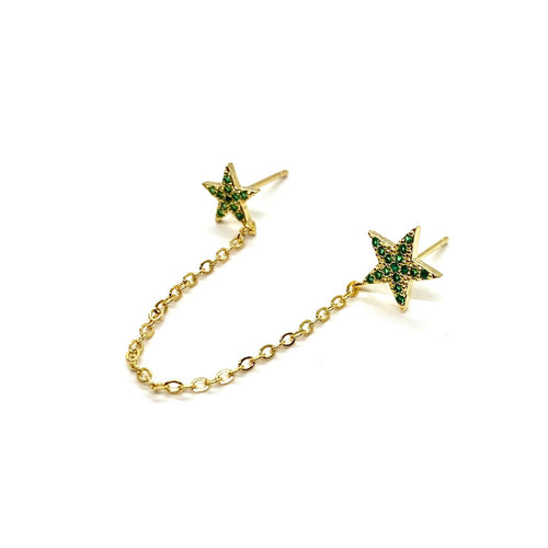18k-Yellow-Gold-Vermeil-Double-Piercing-Pave-Star-Studs-Emerald-Green