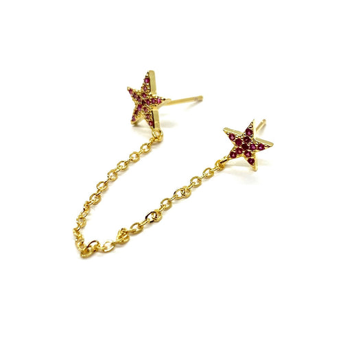 18k-Yellow-Gold-Vermeil-Double-Piercing-Pave-Star-Studs-Ruby