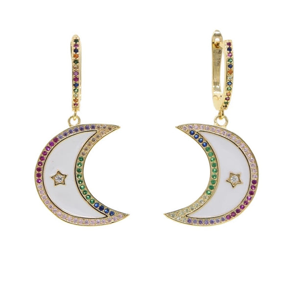 18k Yellow Gold Plated Enamel Rainbow Eden Crescent Moon Huggies