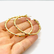 Load image into Gallery viewer, 18k yellow gold plated Eleanor Rainbow Hoop Earrings