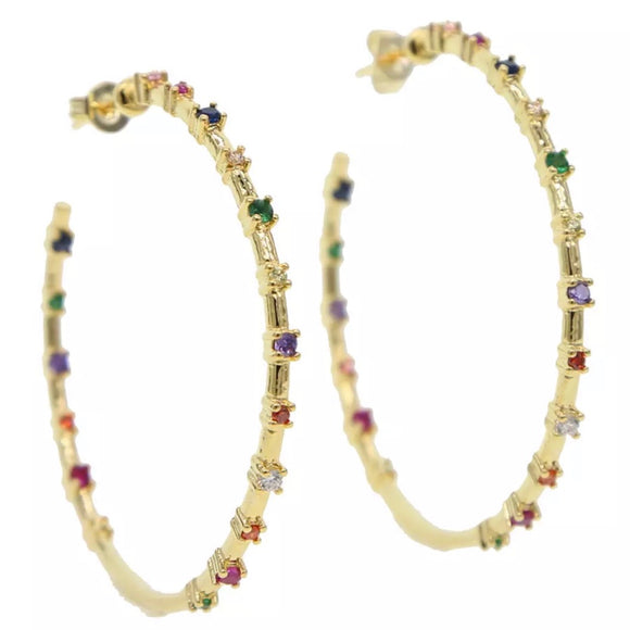 18k yellow gold plated Eleanor Rainbow Hoop Earrings