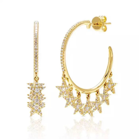 18k yellow gold plated Elise pave star hoop earrings