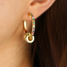 Load image into Gallery viewer, 18k yellow gold rainbow pave Eliza rainbow hoops