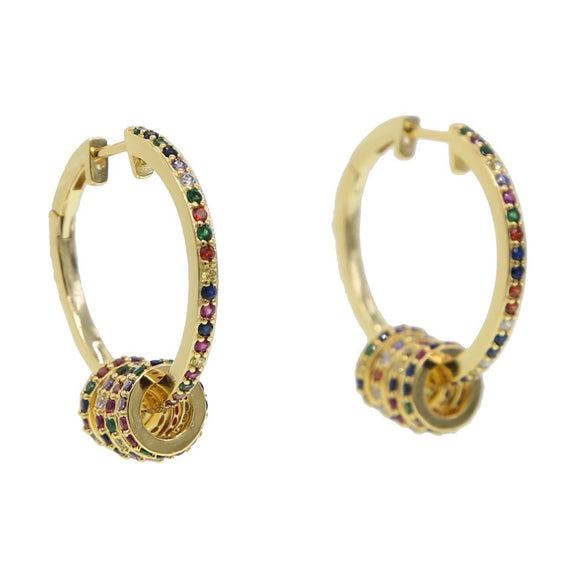 18k yellow gold rainbow pave Eliza rainbow hoops