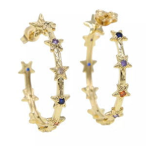 18k gold plated Eloise star hoops - multicolor