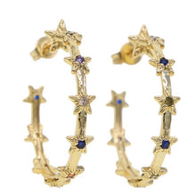Load image into Gallery viewer, 18k gold plated Eloise star rainbow hoops
