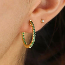 Load image into Gallery viewer, 18k yellow gold plated pave Ivy hoops emerald green