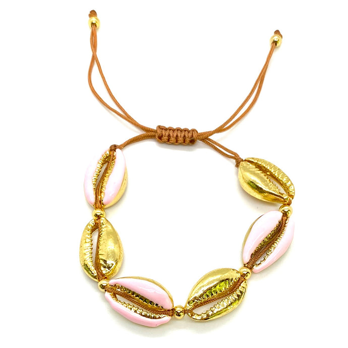 Yellow Gold Plated & Enamel Cowrie Shell Macrame Bracelet - Baby Pink