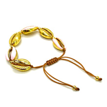 Load image into Gallery viewer, Yellow Gold Plated & Enamel Cowrie Shell Macrame Bracelet - Baby Pink