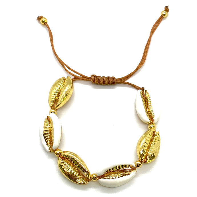 Yellow Gold Plated & Enamel Cowrie Shell Macrame Bracelet - White