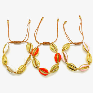 Yellow Gold Plated & Enamel Cowrie Shell Macrame Bracelet