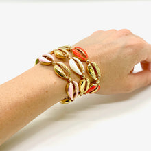 Load image into Gallery viewer, Yellow Gold Plated & Enamel Cowrie Shell Macrame Bracelet