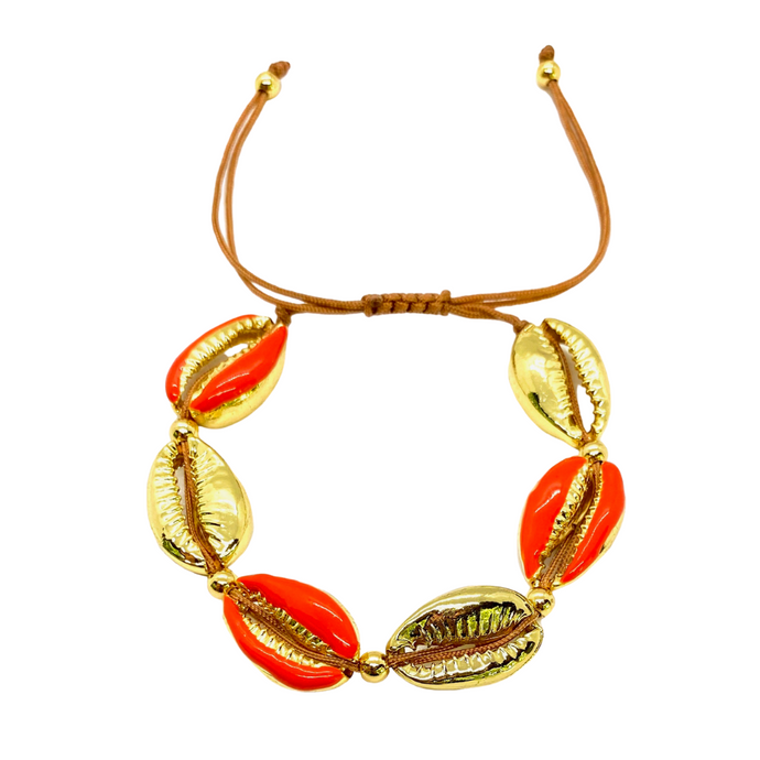 Yellow Gold Plated & Enamel Cowrie Shell Macrame Bracelet - Orange