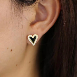 18k Gold Plated Enamel Pave Heart Studs Black