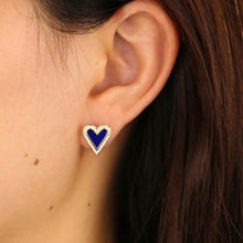 Load image into Gallery viewer, 18k Yellow Gold Plated Pave & Enamel Heart Studs - Cobalt Blue