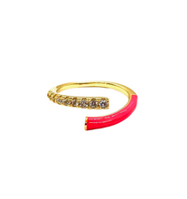 Load image into Gallery viewer, 18k-Yellow-Gold-Plated-Enamel-Pave-Split-Ring-Hot-Pink